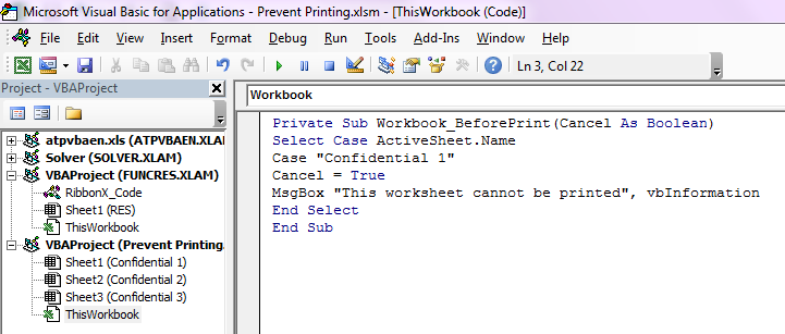 Excel Quick Tip: How to keep users from printing worksheets